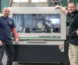 Good technology, good times: James Vincent (left) and Patrick McQuaid with their new CNC tool grinder